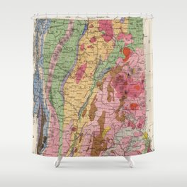 Vintage New Hampshire and Vermont Geology Map (1877) Shower Curtain