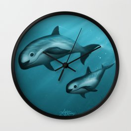 Treacherous Waters - Vaquita Porpoise Art, Original Digital Painting by Amber Marine, Copyright 2015 Wall Clock