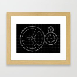 Set of white gears and cogs on virtual screen Framed Art Print
