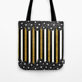 Black Daisies with Gold Glitter Stripes Tote Bag