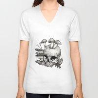 mushrooms V-neck T-shirts featuring Mushrooms by Arnaud Gomet