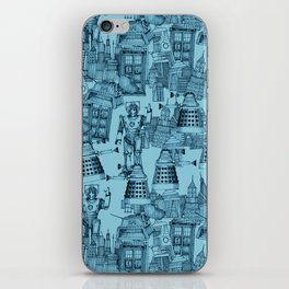 Doctor Who Toile de Jouy | 'Walking Doodle' | Turquoise iPhone Skin