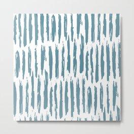 Vertical Dash Teal on White Metal Print