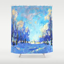 Beautiful Winter Forest Painting Shower Curtain