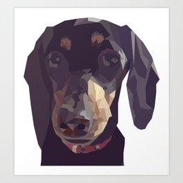 Geometric Sausage Dog Digitally Created Art Print