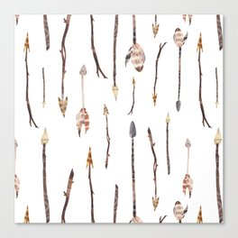 Boho Arrows with Feathers Canvas Print