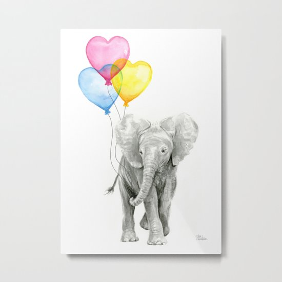 Elephant Watercolor with Balloons Rainbow Hearts Baby Whimsical Animal Nursery Prints Metal Print