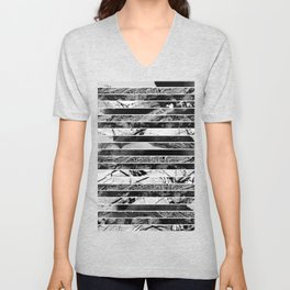 Black And White Layered Collage - Textured, mixed media Unisex V-Neck