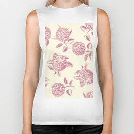 Big lush hydrangea flowers on off-white background seamless pattern. Pale pink. Atemporal, classic. Biker Tank