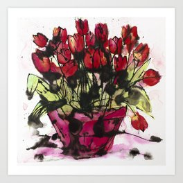 Red Tulips in a Pink Pot: a lively expressive artwork full of paint splashes and love Art Print