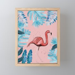 Flamingo with tropical foliage and a coral background Framed Mini Art Print