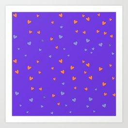 St. Valentine's Day Pattern. Lilac pattern, Violet and Orange hearts Art Print