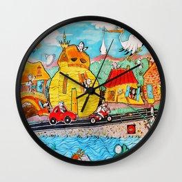 AlieNation (Cartoon style funny illustration) Wall Clock