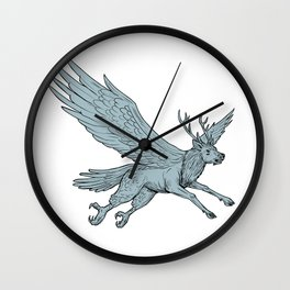 Peryton Flying Side Drawing Wall Clock