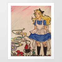 Alice and the Rabbit Art Print