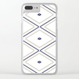 Navajo Pattern - Tan / Navy / White Clear iPhone Case