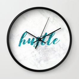 Blue Hustle Text Marble Wall Clock
