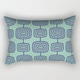 Mid Century Modern Atomic Rings Pattern Turquoise and Blue Rectangular Pillow
