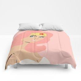 woman of wonder pink hair Comforters