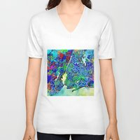 new york map V-neck T-shirts featuring new york new york map by Bekim ART