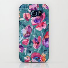 Flourish - a watercolor floral in pink and teal Slim Case Galaxy S7