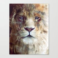 beth hoeckel Canvas Prints featuring Lion // Majesty by Amy Hamilton