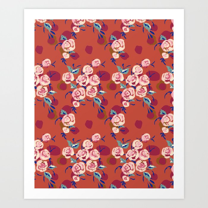 Painty Roses Burnt Orange Art Print