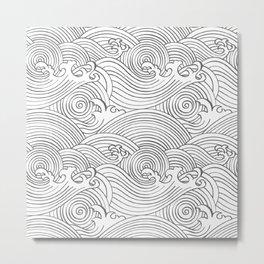 Japanese Waves Seamless Metal Print