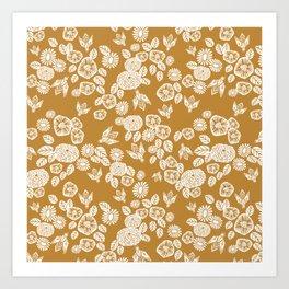 Bee Garden - linocut art, mustard, yellow, garden floral, home decor, bees, florals, flowers print Art Print