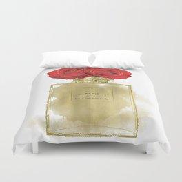 Red Roses & Fashion Perfume Bottle Duvet Cover