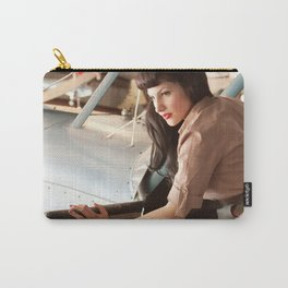 """""""Flight Deck"""" - The Playful Pinup - Airplane Pilot Pin-up Girl by Maxwell H. Johnson Carry-All Pouch"""