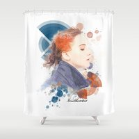 jennifer lawrence Shower Curtains featuring Jennifer Lawrence (Deco Art) by Rene Alberto