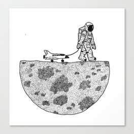 Astronaut and his toys Canvas Print