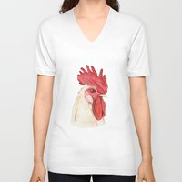 cock V-neck T-shirts featuring Cock by Marta Bocos