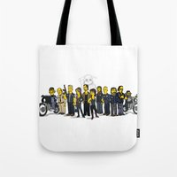 sons of anarchy Tote Bags featuring Sons Of Anarchy cast by Adrien ADN Noterdaem