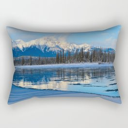 Winter Reflections in the Athabasca River, Jasper National Park Rectangular Pillow