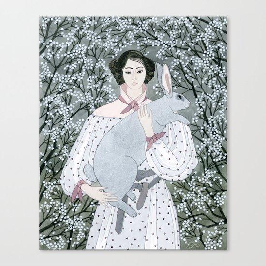 Girl and rabbit among flowers Canvas Print