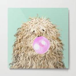 Puli Dog with Bubble Gum in Green Metal Print