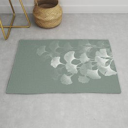 Abstract Watercolor Painting White Ginkgo Leaves - sage green Rug