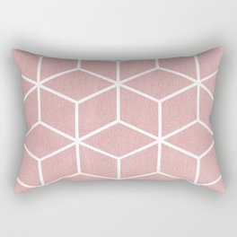 Blush Pink and White - Geometric Textured Cube Design Rectangular Pillow
