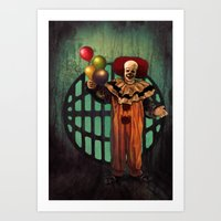 pennywise Art Prints featuring Pennywise by Monsterinbox