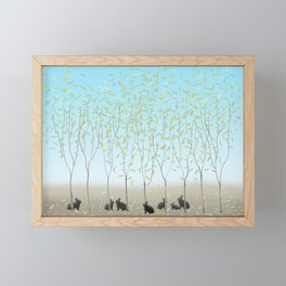 Morning Falling Leaves and Bunnies Framed Mini Art Print