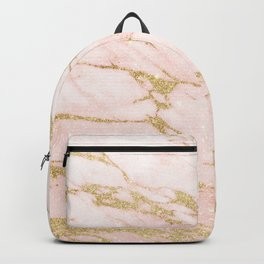 Blush pink abstract gold glitter marble Backpack