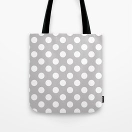 Large Polka Dots in White on Light Gray Tote Bag