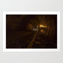 Active train tunnel Art Print