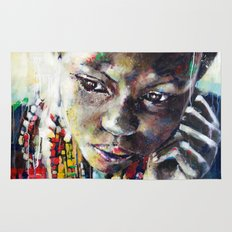 Reverie - Ethnic African portrait Rug