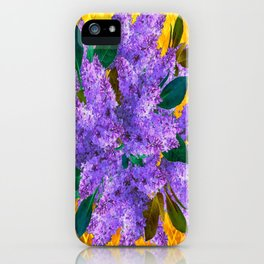 Spring Lilac Floral Bouquet Gold Patterns iPhone Case