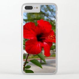 Red Flower Bloom Clear iPhone Case