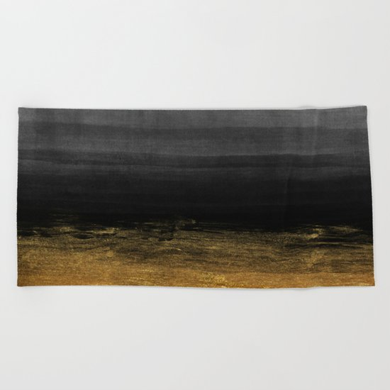 Black and Gold grunge stripes on modern grey beton abstract backround- Stripe-Striped Beach Towel