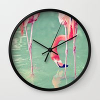 flamingos Wall Clocks featuring Flamingos  by Laura Ruth